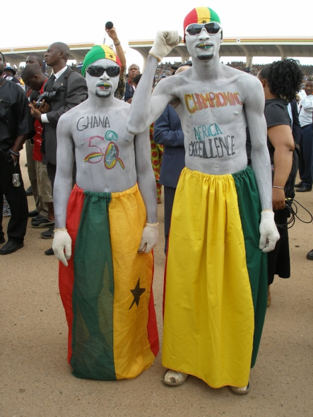 Spectators dressed in national colours at Black Star Square in Accra, 6 March 2007 © Carola Lentz.