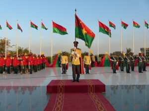 The National Guard presenting the national flag during the national decoration ceremony held at the presidential palace in Ouagadougou, Burkina Faso, 9 Dec. 2013, © Marie-Christin Gabriel.
