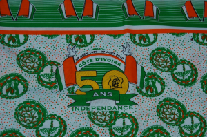 Cloth produced on the occasion of Côte d'Ivoire's 50th anniversary of Independence, © Konstanze N'Guessan.